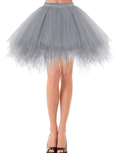 Bbonlinedress Petticoat Tutu Tüllrock Unterrock Rock 50er Vintage Ballet Blase Tanzrock Tanzkleid Ballkleid Kurz Retro Grey M