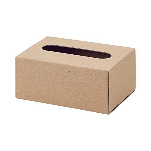無印良品 クラフトティシューボックス・組立式・卓上用 幅15.5×奥行11×高さ6.5cm 02526238 ベージュ