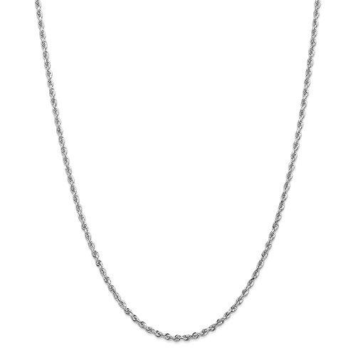 14K bianco oro 2.75mm corda moschettone catena collana, 50,8cm