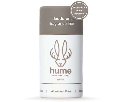 Hume Supernatural Plant-Based Deodorant - Aluminum-Free Deodorant for Women & Men | Natural Ingredients | Baking Soda-Free | Coconut, Probiotic & Mineral Anti Sweat Deodorant – Fragrance Free 2 oz