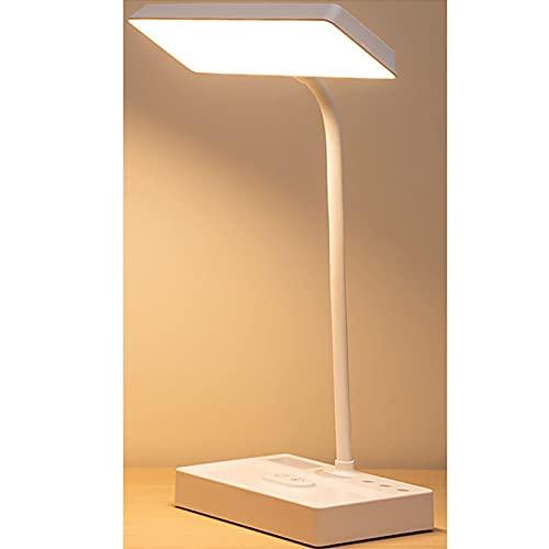 Botitu Lámpara De Escritorio LED De Protección Ocular para Niños, Lámpara De Escritorio De Noche con Carga USB, Lámpara De Lectura De Temperatura De 3 Colores,Blanco