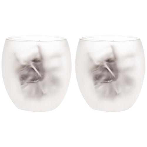 Levivo doppelwandiges Jumbo Thermoglas 400 ml, ideal als Kaffeeglas oder Teeglas, mundgeblasene Thermo-Gläser, hitzebeständig, handgefertigt, kratzfest und spülmaschinengeeignet, 2er-Set, satinier