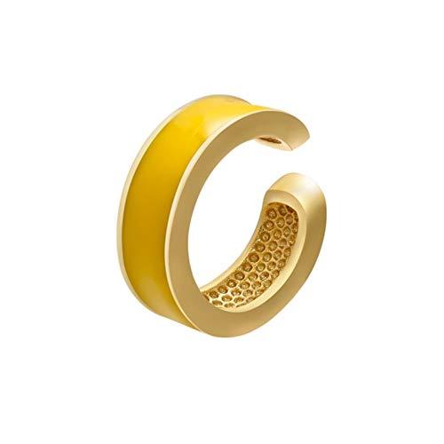 SHOYY 1 pieza de oreja de color verde neón amarillo brillante geométrico redondo U clip en pendientes sin piercing oreja oreja (color metálico: 1 pieza C0060 amarillo)