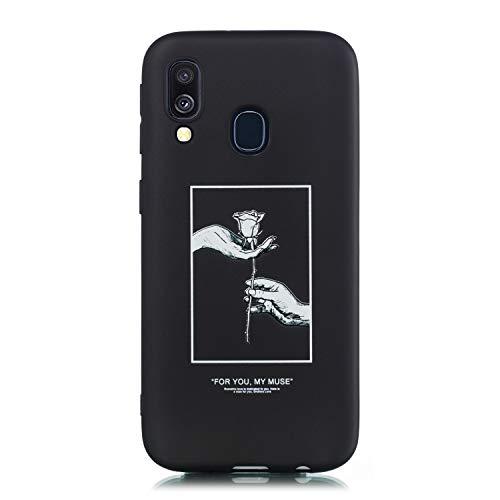Yobby Hülle für Samsung Galaxy A40,Elegant Schwarz Silikon Handyhülle mit Paare Motiv,Ultra dünn Weich Gummi Gel TPU Bumper Stoßfeste Schutzhülle für Samsung Galaxy A40-Rose Blume