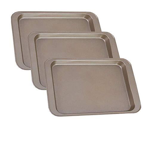 POKALI 3-teiliges Backformen-Set, antihaftbeschichtet, Plätzchenblech, Muffinform, Kastenform, rechteckiges Tablett, 27,9 x 20,3 cm, Gold