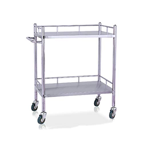I will take action now Schweißen Overall Medical Kinderwagen Regal, 430 Edelstahl Auto, 2-Regal Pflege Mobile Therapie Auto, Schönheitssalon Werkzeug Auto Size : XS-(50x40x86cm)