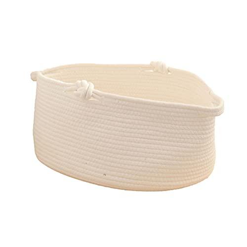 Cesta de almacenamiento tejida con cuerda de algodón con asa, carrito de pañales, organizador de pañales de guardería, cesta de ducha de bebé para la habitación de los niños, 13,8 x 9,1 x 6,7 inch