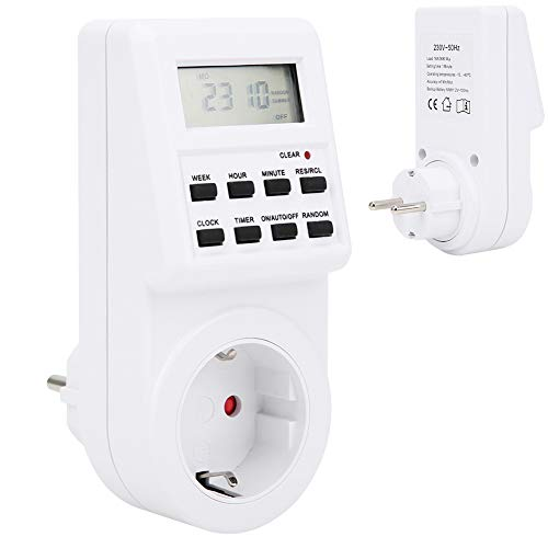 Timer Plug In Timer für Innenbeleuchtung, 8 Tasten Timer Funktion, Verhindern von Überladung, EU Stecker 230V
