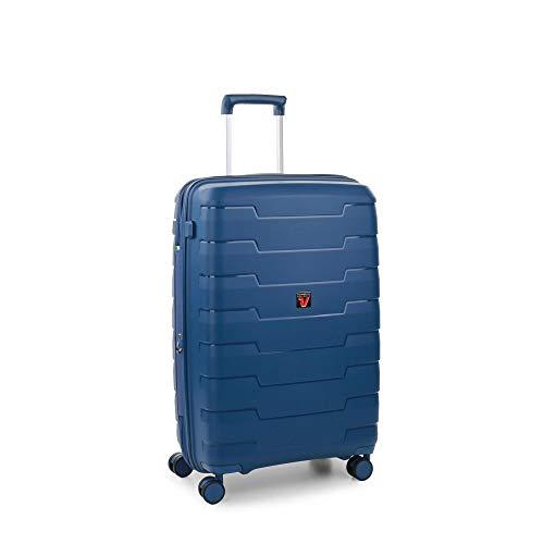 Roncato Skyline Maleta Mediana Expansible Azul, Medida: 70 x 46.5 x 28/33 cm, Capacidad: 80/93 l, Pesas: 3.5 kg