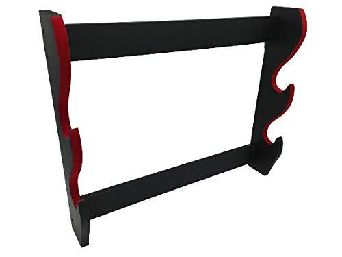 Glac Store® Supporto da Parete Muro per Katana Samurai 2 posti Espositore con Ganci Velluto Rosso