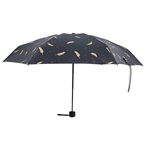 LANTRO JS - Mini paraguas de viaje, paraguas plegable compacto portátil, paraguas impermeable ligero pequeño con diseño de plumas, paraguas de bolsillo, paraguas de sol