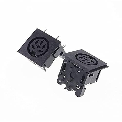 IREANJ Conectores 2 conectores hembra DIN receptáculo 2 3 4 5 6 7 8 9 pines conector circular de ángulo recto PCB soldadura socket estaño (color: 6P DS 6 102)