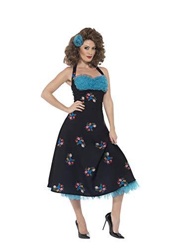 Smiffy'S 42897M Disfraz De Cha Cha Digregorio De Grease Con Vestido Sin Espalda Y Pinza, Negro, M - Eu Tamaño 40-42
