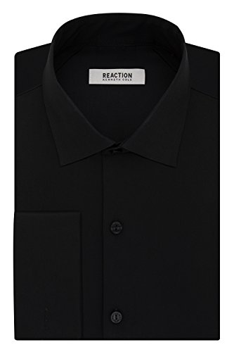 Kenneth Cole Reaction Men's Technicole Slim Fit Stretch Solid French Cuff Spread Collar Dress Shirt , Black, 16.5 Neck 32-33 Sleeve