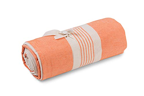 HomeLife - Tela decorativa para sofá a rayas – Sábana cubretodo multiusos de algodón – Granfoulard colcha para cama individual [160 x 280] – Naranja – Fabricado en Italia