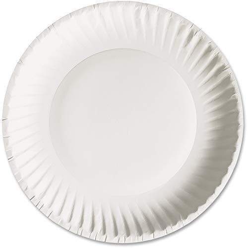 AJM Packaging PP9GREWH 9 White Paper Plates Green Label (10 Packs of 100)