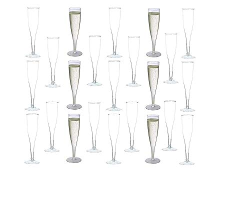 90 Plastic Disposable Champagne Flutes | Ideal for Toasting, Wedding, Birthday, Baby Showers, Retirement, Celebration, Mimosa, Cocktails, Engagements, Birthday, Parties | 6.5 Ounces (Clear)
