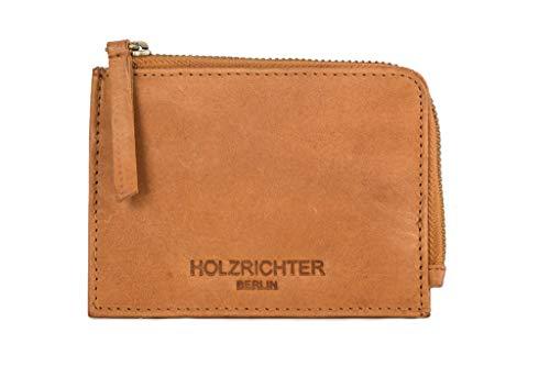 HOLZRICHTER Berlin Geldbörse aus Leder. Handgefertigte kleine Münzbörse, Kleingeldbörse in braun. Hochwertiges Portemonnaie, als Minibörse für Münzen