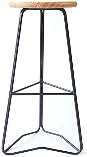 Metal Eetstoelen Stackable Side Stoelen Moderne Barkruk Keuken Kruk, Staafstoel ontbijt Dining Kruk Restaurant Hoge Kruk Barkruk ronde houten Seat 65 / 75cm Hoogte Met Zwarte Metel Benen Max