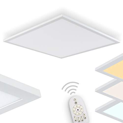 LED Deckenpanel Lerum, dimmbare Deckenleuchte in Weiß, 62 cm x 62 cm, Panel mit 33 Watt, 2870 Lumen, Lichtfarbe 2700-5000 Kelvin, eckige Deckenlampe in flachem Design mit Fernbedienung