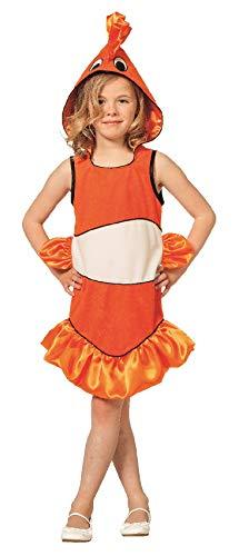 narrenkiste L3102290-104 orange-weiß Kinder Clownfisch Kostüm Gr.104