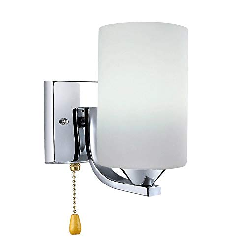 Iluminación de pared ligera para sala de estar. Lámpara de pared de estilo minimalista moderno, base de cromo y pantalla de cristal for baño Tocador de iluminación, sala de estar, dormitorio, estudio