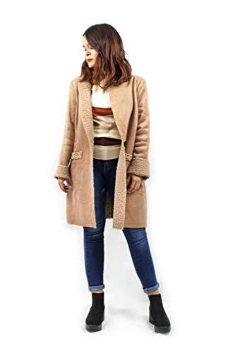 Modelisa - Abrigos De Antelina con Detalles En Borrego para Mujer (Caqui, L)
