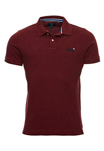 Superdry Mens Classic Short Sleeve Pique Polo Shirt - Red - Medium
