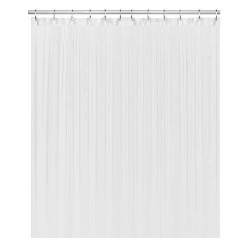 "LiBa Cloth Fabric Bathroom Shower Curtain, 72"" W x 72"" H White Heavy Duty Waterproof Shower Curtain Antimicrobial Mildew Resistant"