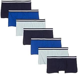 Marca Amazon - find. Calzoncillo Corto Bajo de Algodón Hombre, Pack de 7, Multicolor (Navy/Wash Blue/Royal), XL, Label: XL