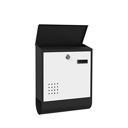 Clothink Briefkasten anthrazit mit Zeitungsfach, Namensschild, Sichtfenster, Edelstahl pulverbeschichtet, abschließbar