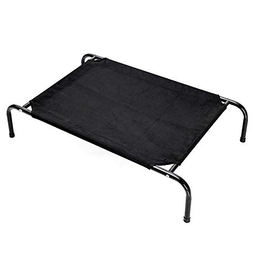 J Elevated dog bed, available in four sizes, washable breathable mesh.
