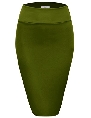 Simlu Scuba Pencil /Midi Bodycon /Below Knee /Office Skirt High Waist, Olive Medium