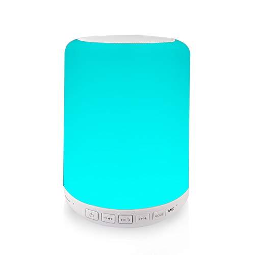 Altavoz Lámpara Noche Táctil LED – VICTORSTAR Y02W Luz de Cabecera/Mesa con de Bluetooth 4.0 Altavoz, RGB Colores Cambiable y Luz Blanca Regulable, Radio de FM, USB, TF Tarjeta Juega, AUX-in Apoyado