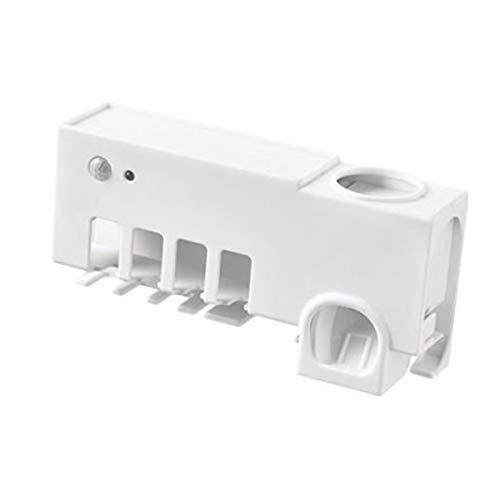 HKJZ SFLRW Dispensadores automáticos de Pasta de Dientes con Soporte de Cepillo de Dientes, Cepillo de Dientes de Ahorro de Espacio de Espacio de Pared multifunconal y pipazador de Pasta de Dientes