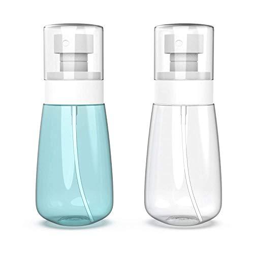 2 Stück Kleine Sprühflaschen Reisegröße 60 ml - Fine Mist Hair Sprayer - Nachfüllbare und wiederverwendbare Plastikflaschen für ätherische Öle, Parfüm, geeignet für Flüssigkeiten