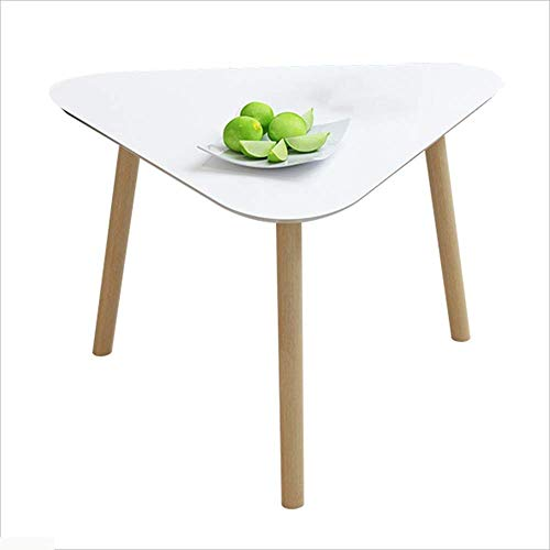 Axdwfd Table basse en bois massif Triangle Canapé Table d'appoint Table de chevet moderne Table Snack (blanche) 3 Taille (taille : 40cm)