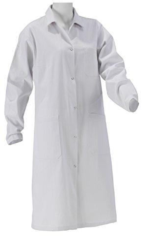 Laborkittel Damen Herren Kittel Medizin weiß Baumwolle Druckknöpfe (Herren 48)