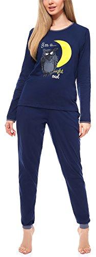 Merry Style Damen Schlafanzug MS10-170 (Dunkelblau-Dunkelmelange, XL)