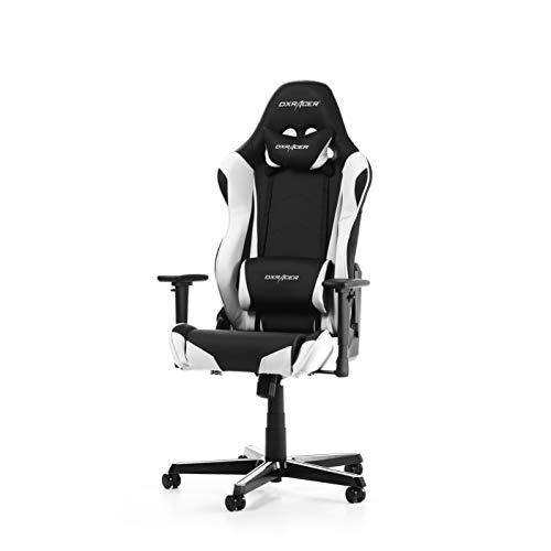 DXRacer Racing Series R0-NW Gaming Stuhl aus Kunstleder, Schwarz-Weiß