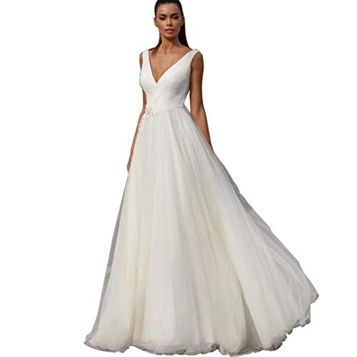 Women's V-Neck Lace Appique Wedding Dress Long Tulle Bridal Ball Gowns Ivory (Apparel)