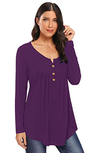 AMCLOS Womens Solid Tops V Neck T-Shirts Swing Ruffle Blouses Button up Tunic Casual Flowy Loose Long Sleeve(Purple,L)
