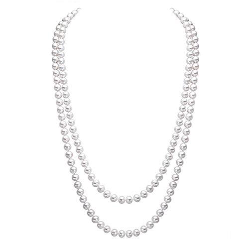 Merdia Elegante collana da donna con perle artificiali, ideale da indossare su maglioni lunghi