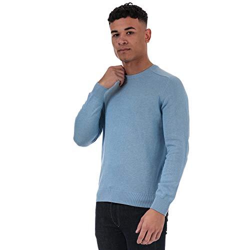 Ben Sherman - Maglione da uomo in maglia con risvolto, orlo e colletto a costine Blu 2XL