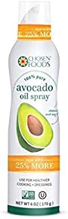 Chosen Foods 100% Pure Avocado Oil Spray 6 oz. (4 Pack), Non-GMO, 500°F Smoke Point, Propellant-Free, Air Pressure Only fo...