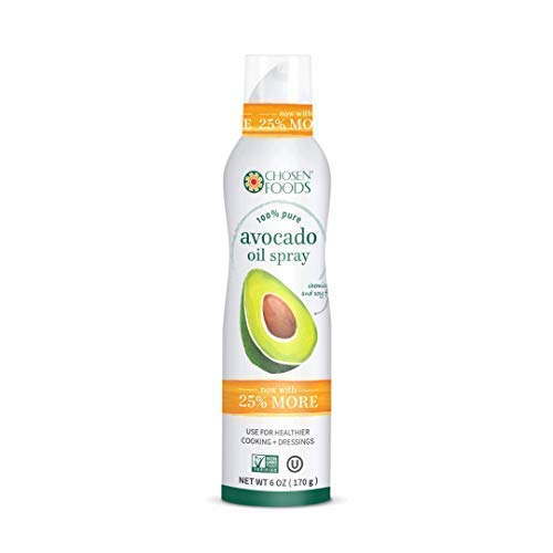 Chosen Foods 100% Pure Avocado Oil Spray 6 oz. (1 Pack), Non-GMO, 500°F Smoke Point, Propellant-Free, Air Pressure Only for High-Heat Cooking, Baking and Frying