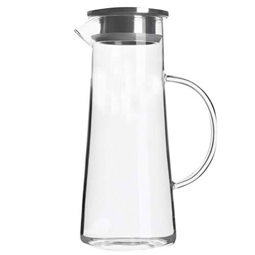 BESTonZON Wasserkaraffe, 1.5L Wasserkrug Glaskaraffe Borosilikatglas Krug Edelstahl Deckel mit Sieb für Heiß/Kaltsaft EIS Getränke Tee, Milch, Kaffee und Rotwein