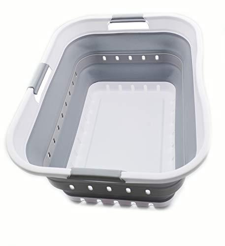 SAMMART - Cesta plegable de plástico para la colada – Contenedor / organizador de almacenamiento plegable – Bañera portátil – Cesta para ahorrar espacio (1 unidad, color blanco/gris)