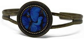 Bracciale retrò in resina Farfalla blu nero regolabile rotondo 20mm ottone bronzo regalo personalizzato noel amico festa d...