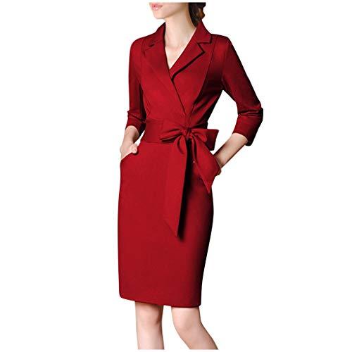 Deloito Damen Elegant Schlank Bodycon Midikleid Langarm Knielang Spleißbogen Hip Hip Blazer Kleid Thin Business Formale Arbeit Bleistiftkleid Jacken Kleider Anzug (Rot-B,XXX-Large)